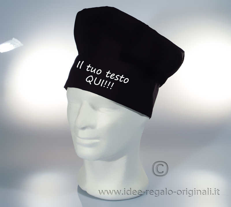 Regali originali Compleanno - Cappello da cuoco personalizzato (NERO) d65c8be611eb